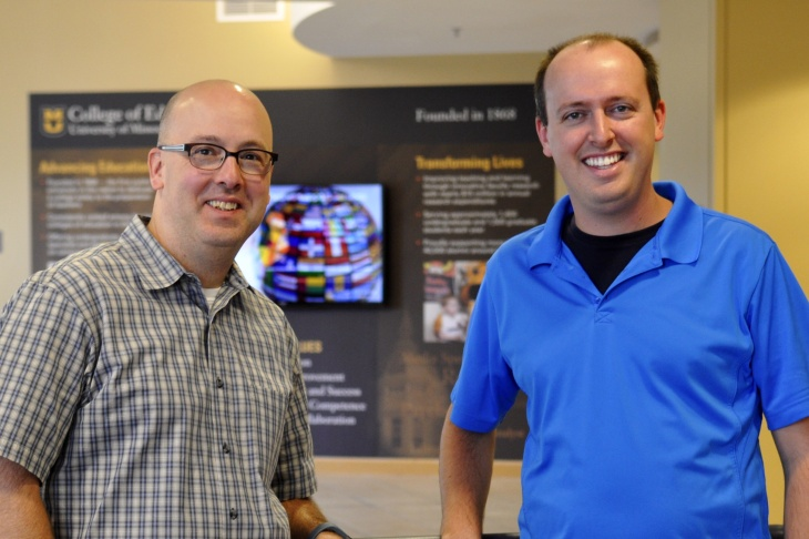 Mizzou assistant professor Sean Goggins (left) and doctoral student Ian Graves developed software that measures the context of words in Twitter. (Photo courtesy of the MU News Bureau)
