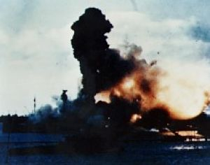 USS Arizona explodes during attack on Pearl Harbor